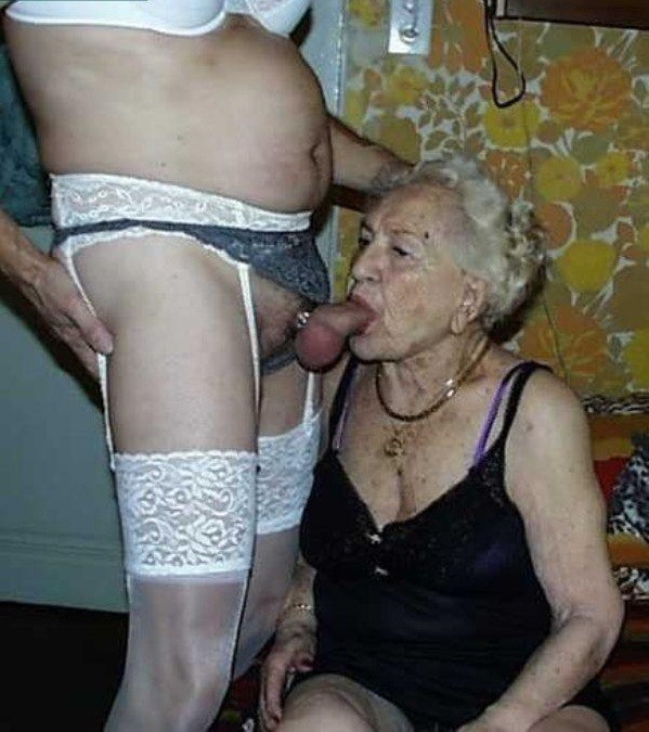 Very old granny sucking cock